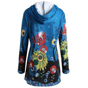 Plus Size Long Squirrel Forest Hoodie - LAKE BLUE 3XL