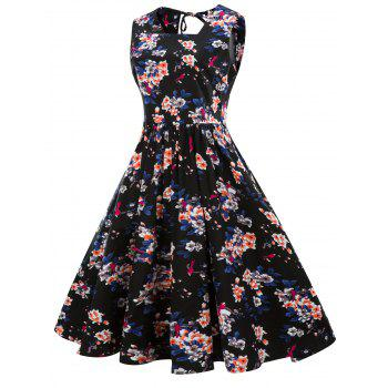 Floral Printed Sleeveless Fit and Flare Dress - BLACK L