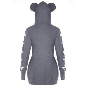 Plus Size Cat Print  Hoodie with Ears - GRAY 3XL