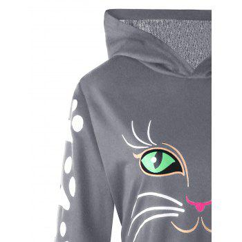 Plus Size Cat Print  Hoodie with Ears - GRAY 4XL