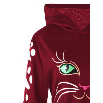 Plus Size Cat Print  Hoodie with Ears - WINE RED XL