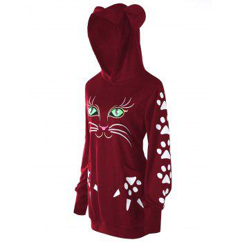 Plus Size Cat Print  Hoodie with Ears - WINE RED 2XL