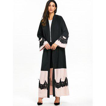 Bell Sleeve Duster Coat with Tie Belt - BLACK M
