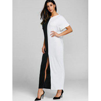 High Split Color Block Maxi Dress - WHITE/BLACK XL