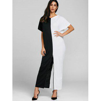 High Split Color Block Maxi Dress - WHITE/BLACK M