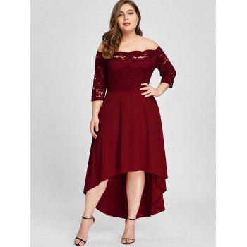 Plus Size Lace Off Shoulder Flare Dress - WINE RED XL