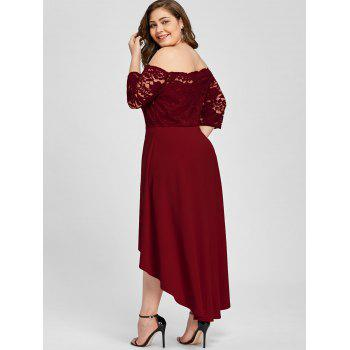 Plus Size Lace Off Shoulder Flare Dress - WINE RED 3XL