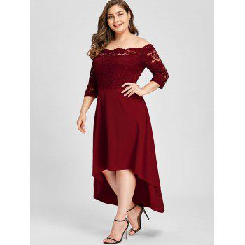 Plus Size Lace Off Shoulder Flare Dress - WINE RED 4XL