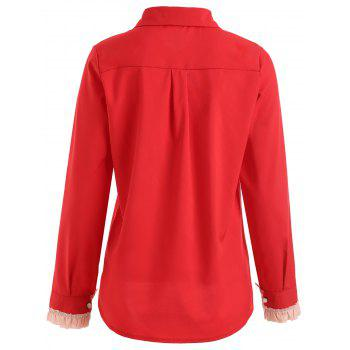 Button Up Front Double Heart Shaped Shirt - RED M