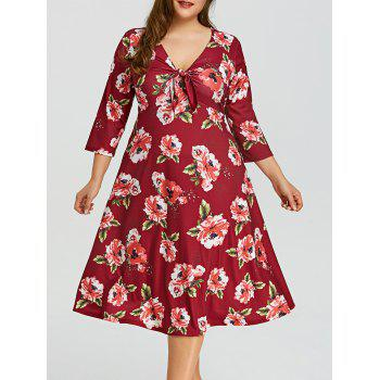 Plus Size Floral Empire Waist Hawaiian Dress - WINE RED WINE RED
