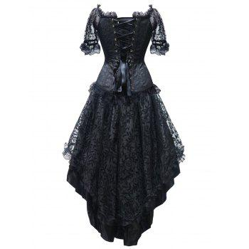 High Low Steel Boned Party Corset Dress - BLACK S