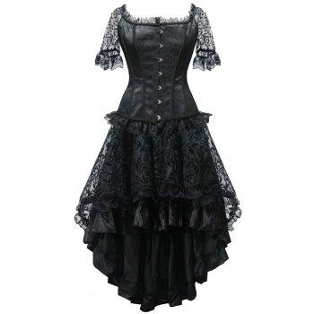 High Low Steel Boned Party Corset Dress - BLACK BLACK