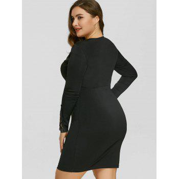 Plus Size Mesh Panel Applique Dress - BLACK 2XL