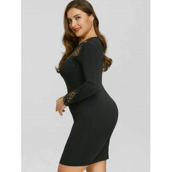 Plus Size Mesh Panel Applique Dress - BLACK 4XL