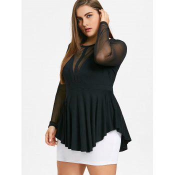 Plus Size Mesh Panel Peplum Top - BLACK 3XL