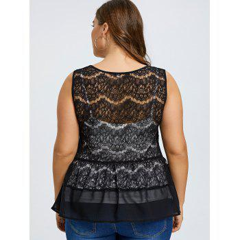 Plus Size Sheer Lace Blouse with Camisole - BLACK XL
