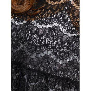 Plus Size Sheer Lace Blouse with Camisole - BLACK 3XL