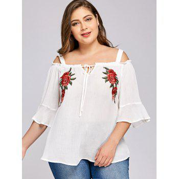 Plus Size Flare Sleeve Embroidery Floral Blouse - WHITE XL