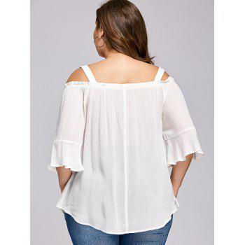 Plus Size Flare Sleeve Embroidery Floral Blouse - WHITE 2XL