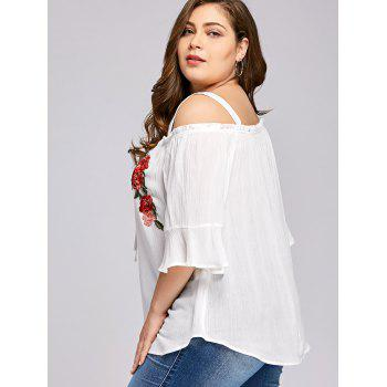 Plus Size Flare Sleeve Embroidery Floral Blouse - WHITE 5XL