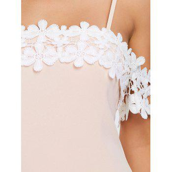 Open Shoulder Lace Panel Party Bodycon Dress - LIGHT PINK M