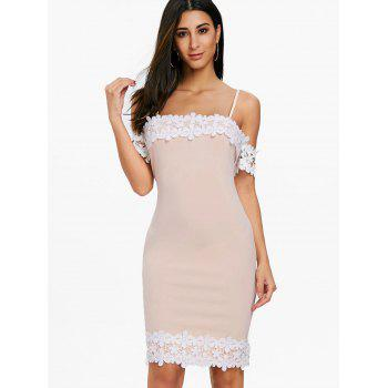 Open Shoulder Lace Panel Party Bodycon Dress - LIGHT PINK XL