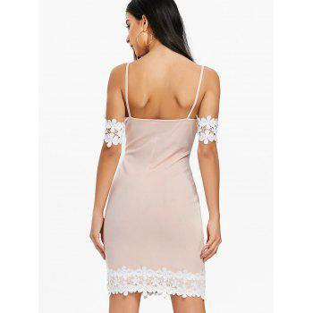 Open Shoulder Lace Panel Party Bodycon Dress - LIGHT PINK 2XL