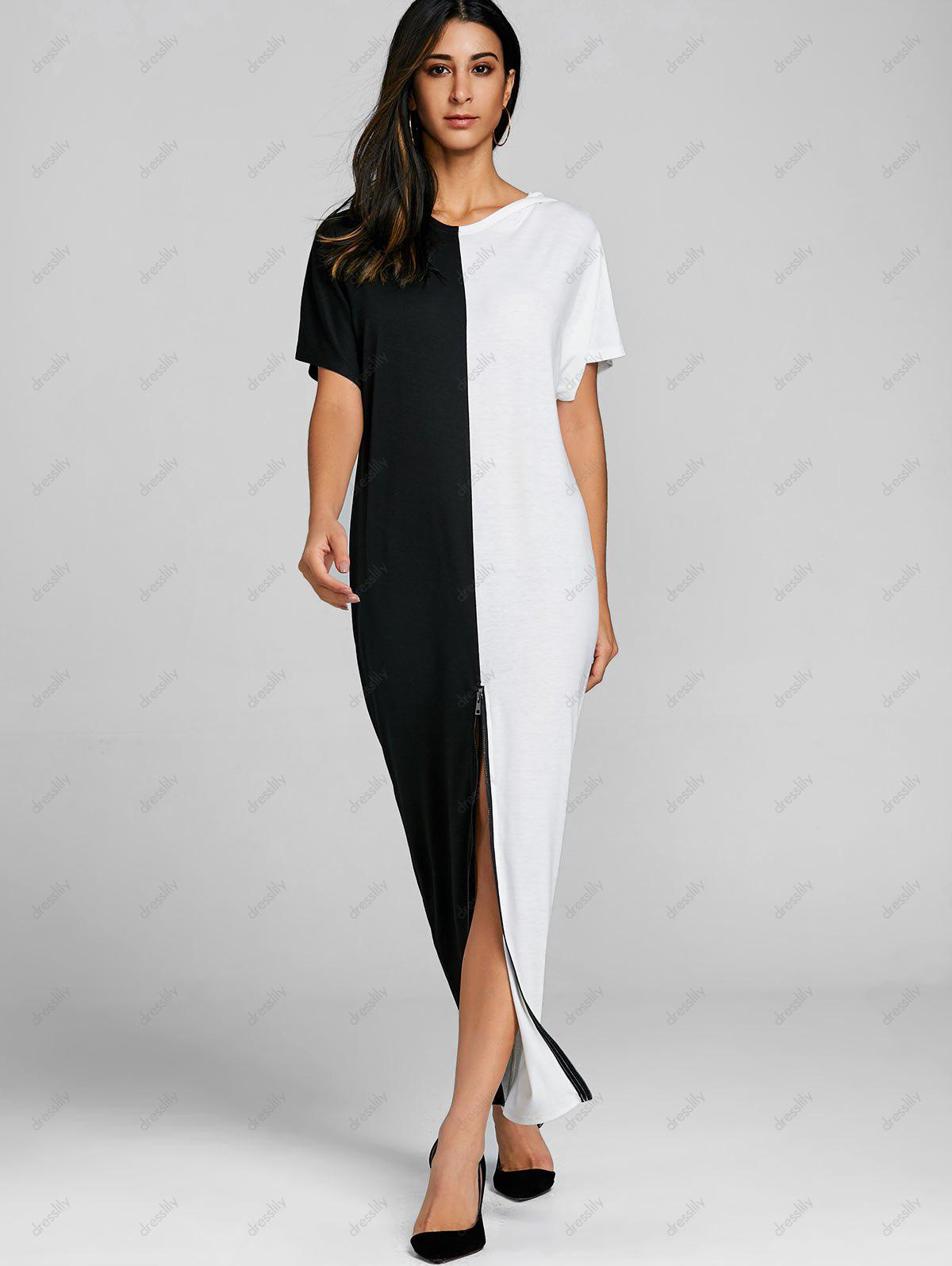 High Split Color Block Maxi Dress - WHITE/BLACK 2XL