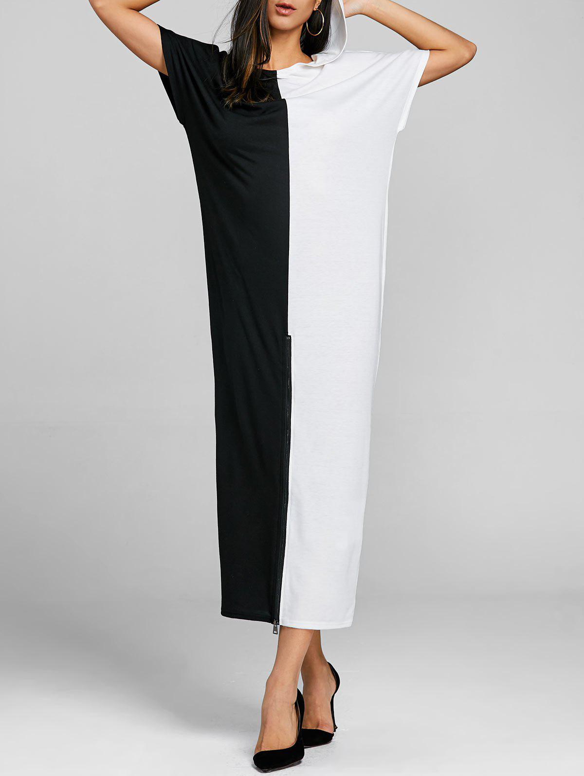High Split Color Block Maxi Dress - WHITE/BLACK L