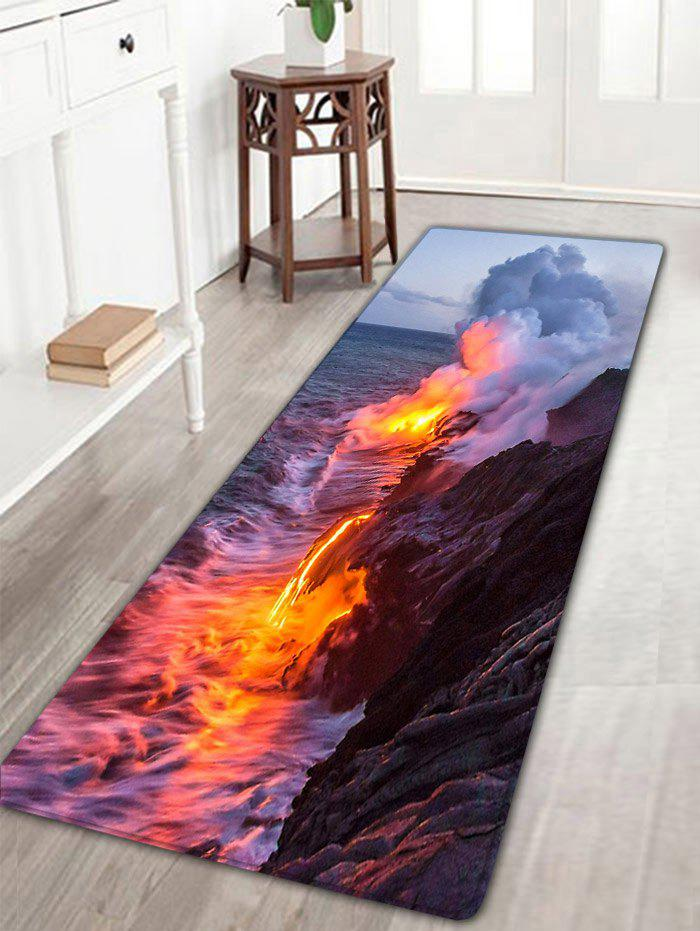 Volcanic Eruption Pattern Antiskid Flannel Bath Rug - COLORMIX W16 INCH * L47 INCH