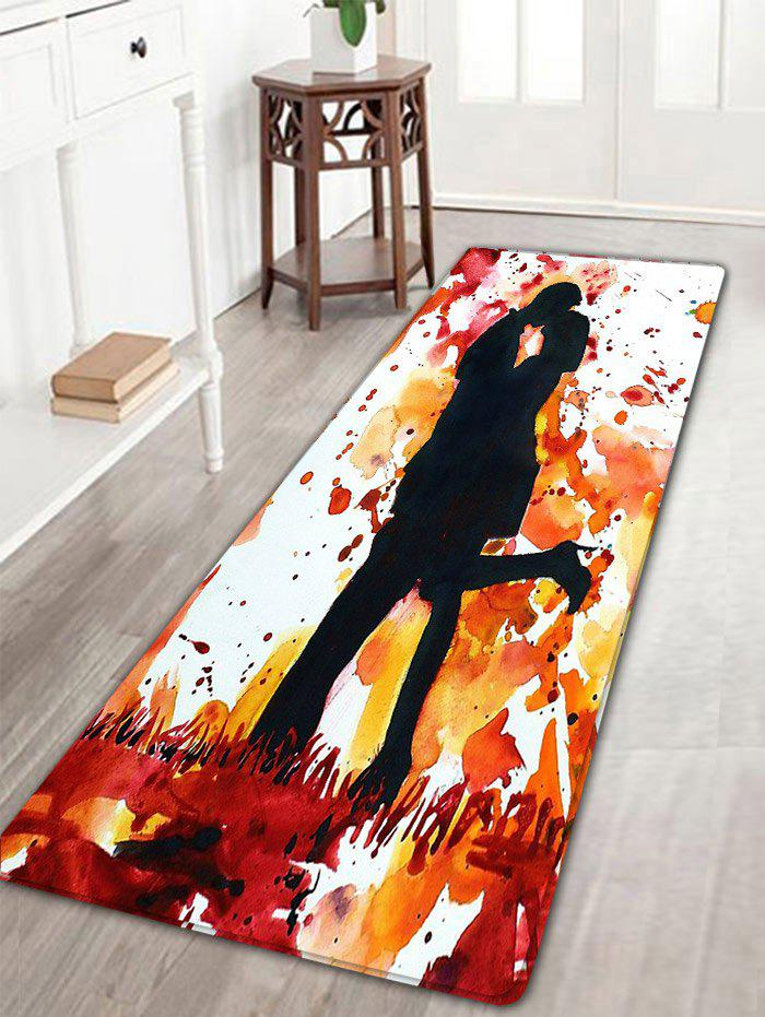 Valentine's Day Lovers Kiss Printed Antiskid Bath Rug - COLORMIX W16 INCH * L47 INCH