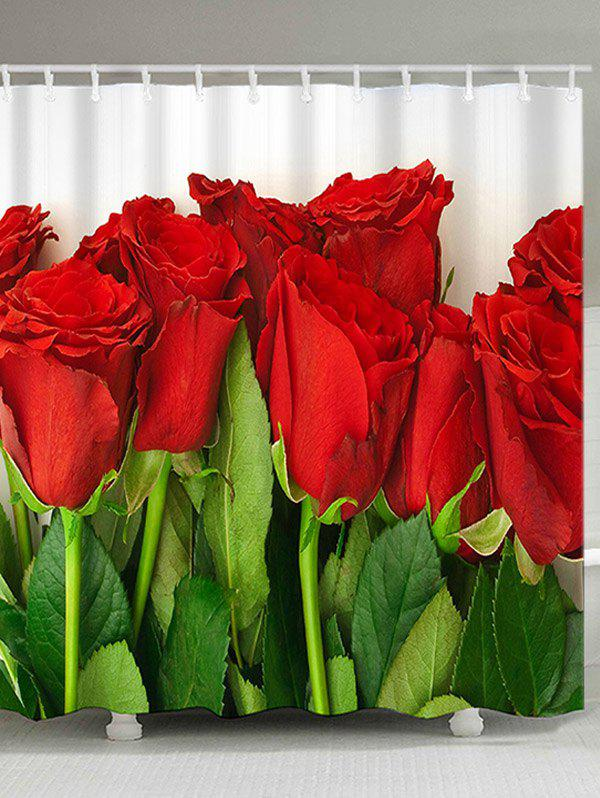 Valentine's Day Red Roses Printed Waterproof Shower Curtain with Hooks - RED W71 INCH * L71 INCH