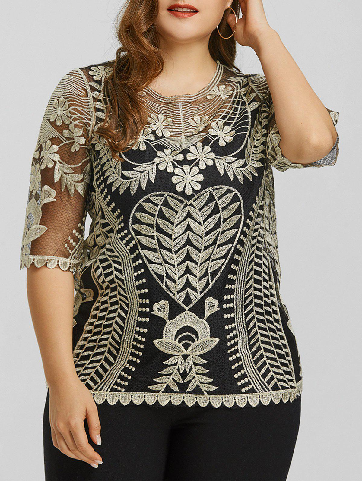 Plus Size Scalloped Sheer Lace Top - GOLDEN ONE SIZE