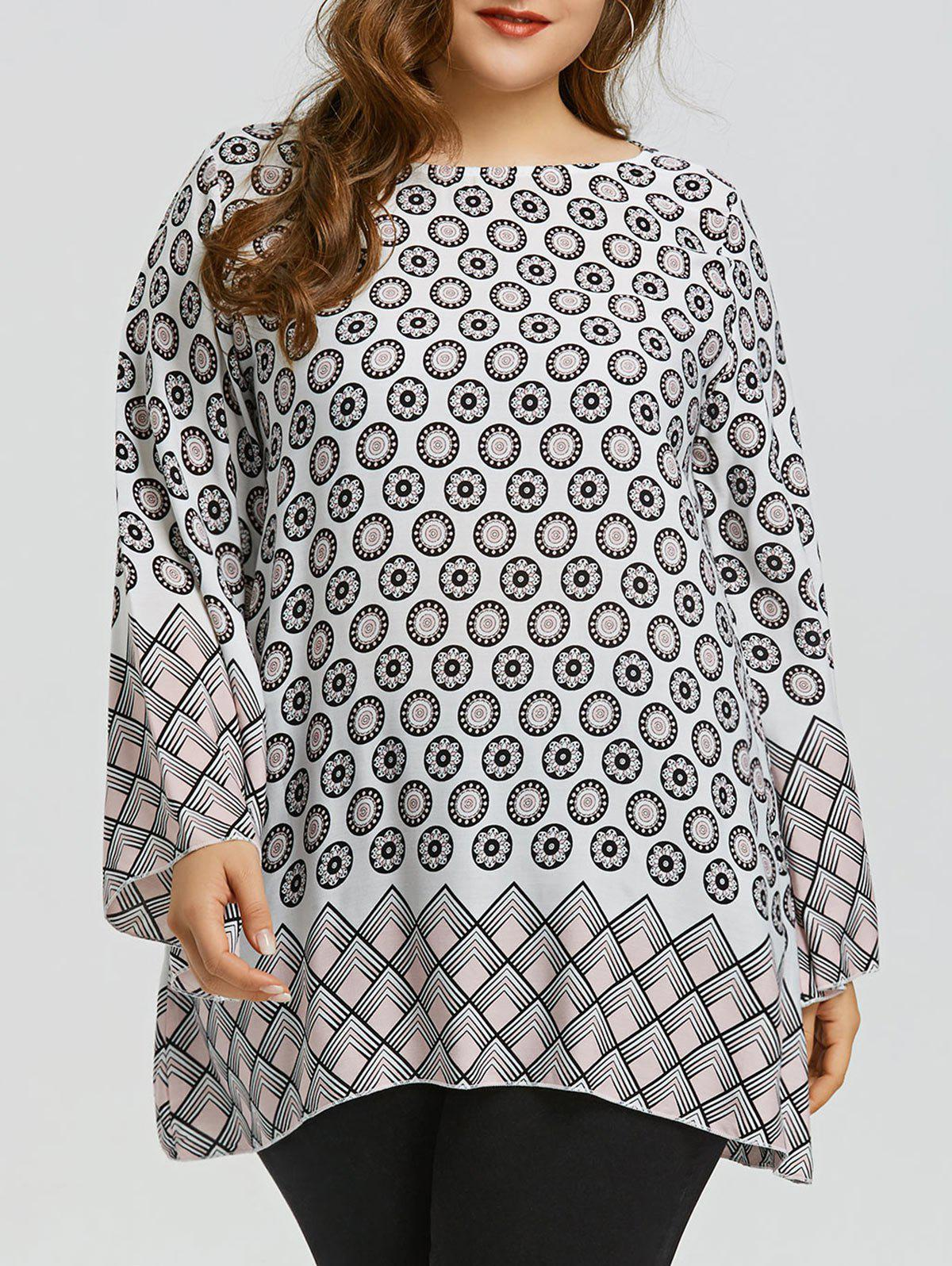 Ethnic Floral Print Plus Size Top - WHITE 4XL