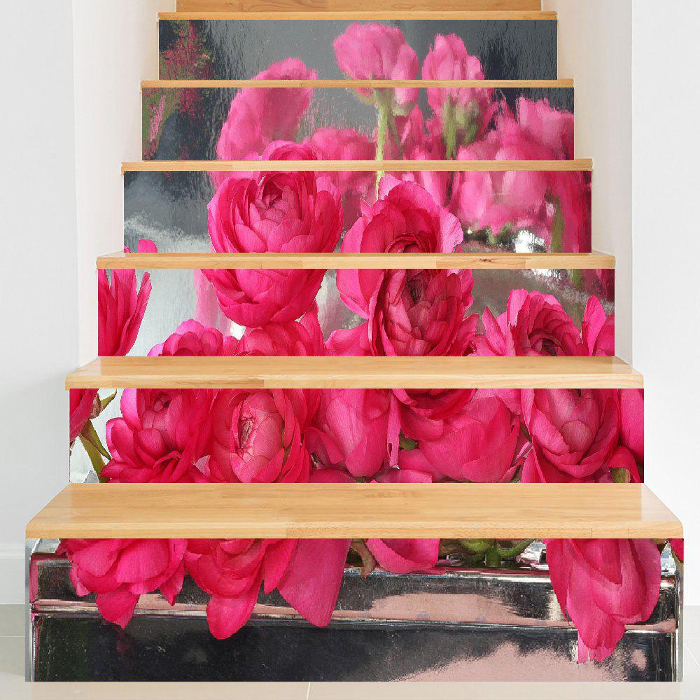 Rose Flowers Print Decorative DIY Stair Stickers - PAPAYA 100*18CM*6PCS