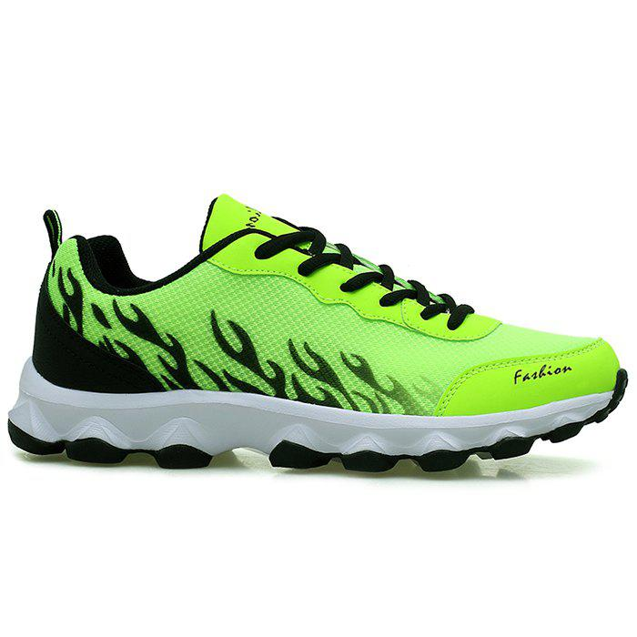 Color Block Breathable Mesh Sneakers - NEON GREEN 41