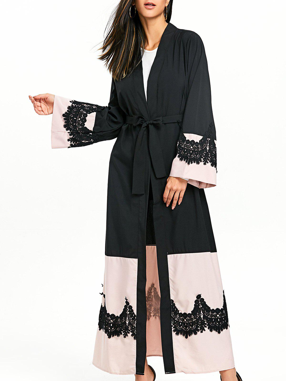 Bell Sleeve Duster Coat with Tie Belt - BLACK XL
