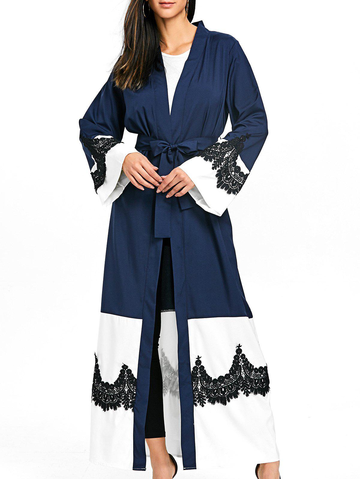 Bell Sleeve Duster Coat with Tie Belt - PURPLISH BLUE L