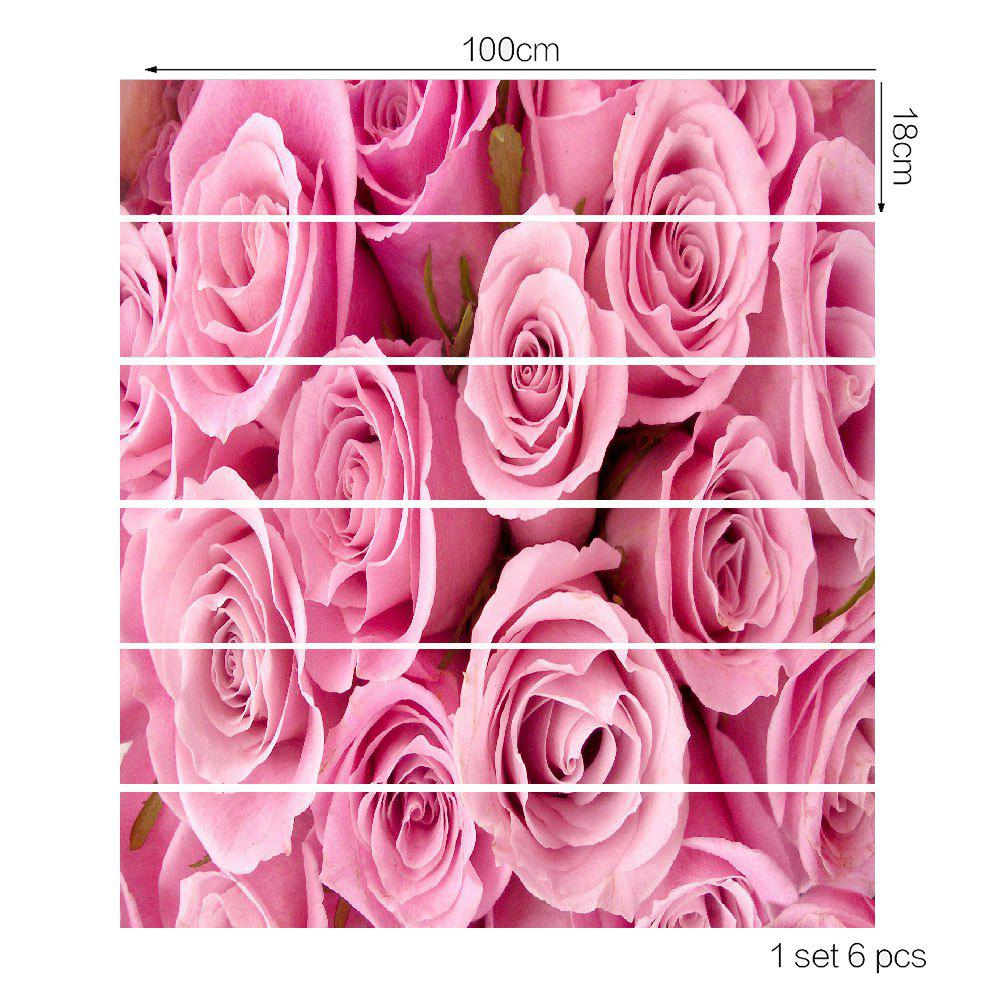 Valentine's Day Roses Printed Decorative Stair Stickers - PINK 100*18CM*6PCS