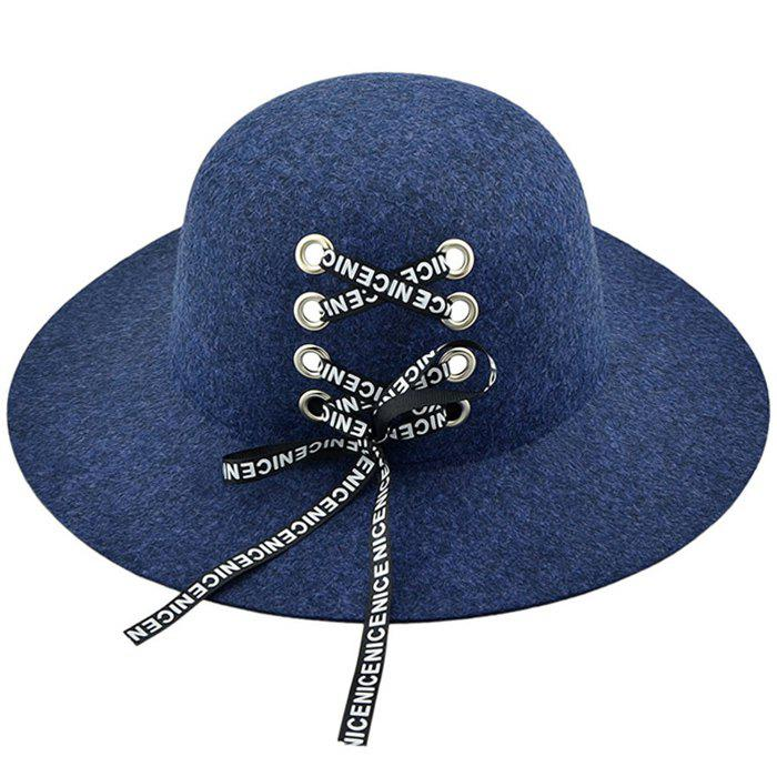 Vintage Letter Printed Lace Up Wide Brim Hat - CADETBLUE