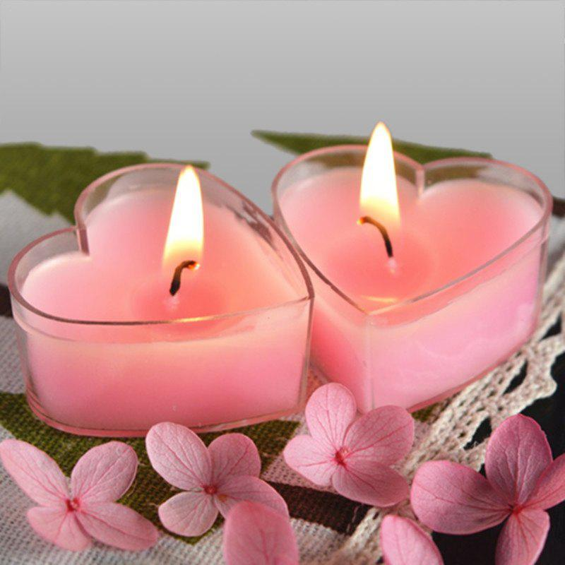 9pcs Romantic Love Tea lights Heart Shaped Candle Bulk - PINK