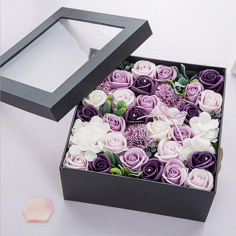 One Box Scented Flower Soap Gift Valentine's Present - PURPLE