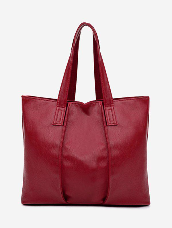Nude Faux Leather Shoulder Bag - RED