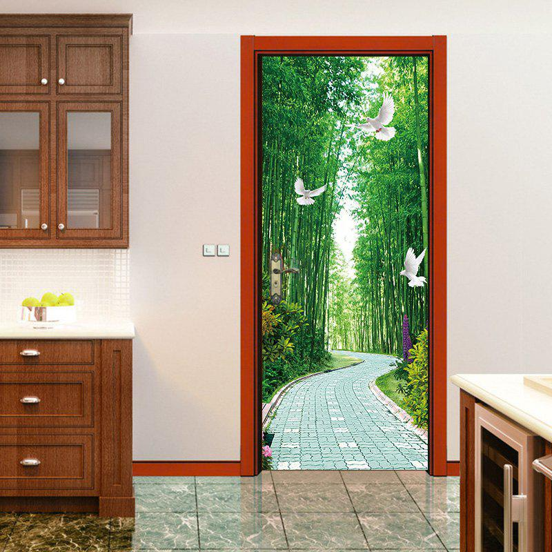 Tree-lined Trail Pigeons Door Art Stickers - multicolor 38.5*200CM*2PCS