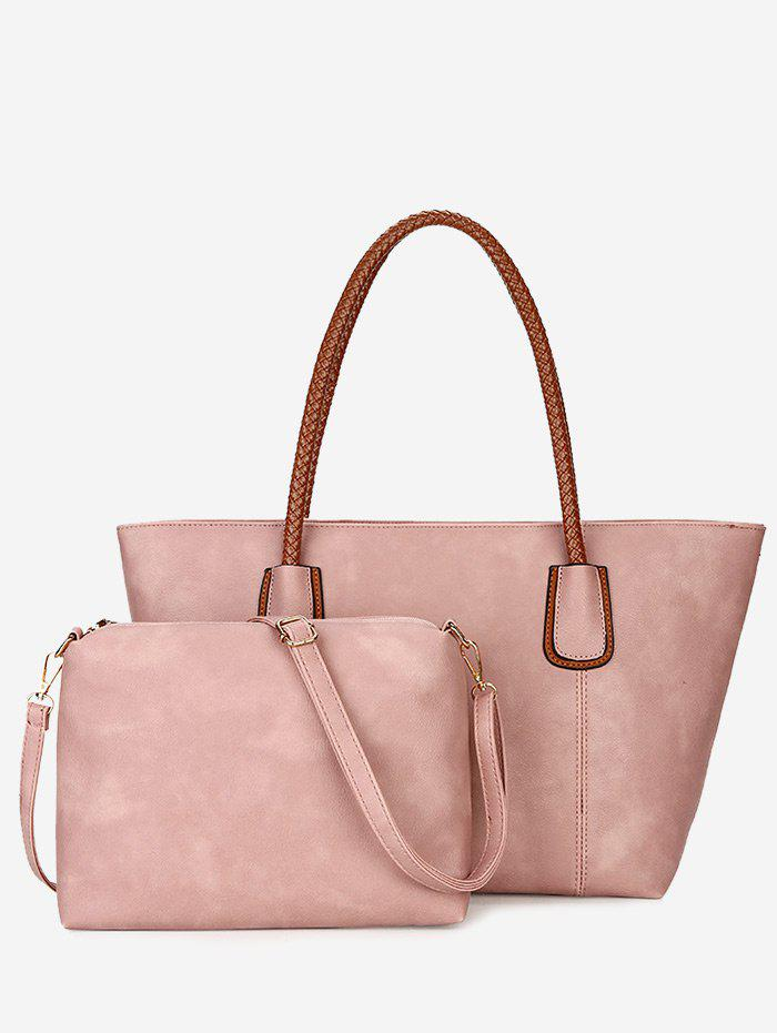 2 Pieces Braid Handles Shoulder Bag Set - PINK