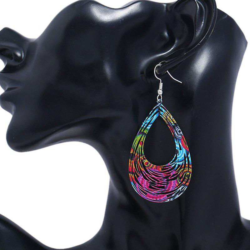 Hollow Out Water Drop Shape Hook Earrings - COLORMIX