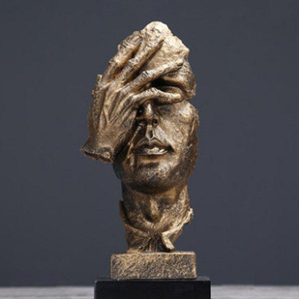 Silence Is Golden Thinker Abstract Sculpture Crafts Art Decoration - GOLDEN DO NOT WATCH