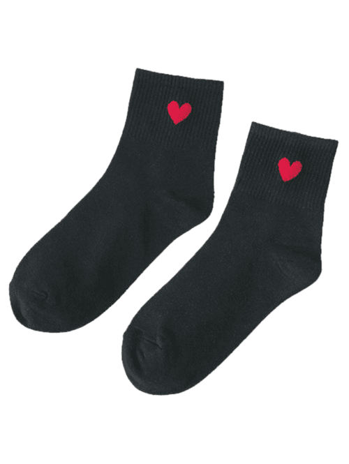 Small Heart Knitted Ankle Socks - BLACK