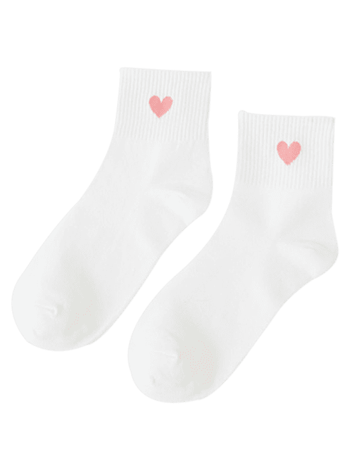 Small Heart Knitted Ankle Socks - WHITE