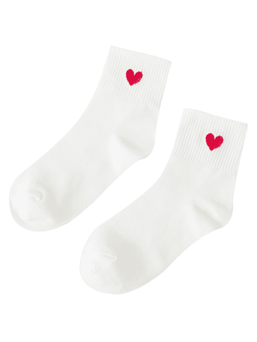 Small Heart Knitted Ankle Socks - CRYSTAL CREAM